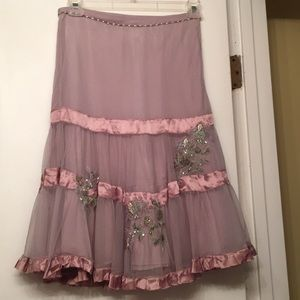 Anthropologie Lithe Skirt Lavender with beading
